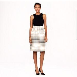J CREW black gold stripe fit and flare dress